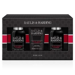 BAYLIS & HARDING SIGNATURE MEN'S BLACK PEPPER & GINSENG SMALL 3 PIECE SET