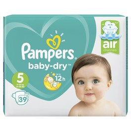 PAMPERS VP BABY DRY 5 JUNIOR X39 (NEW)