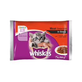 WHISKAS JUNIOR/KITTEN POUCH MEAT SELECTION 4 PACK 100G