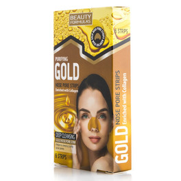 BEAUTY FORMULAS GOLD NOSE PORE STRIPS X 6