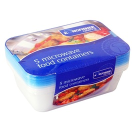 KINGFISHER PLASTIC FOOD CONTAINER X5 PK MICROWAVE