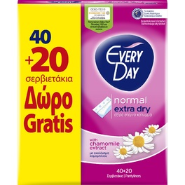 EVERYDAY PANTY LINERS NORMAL EXTRA DRY x60 (40+20FREE)