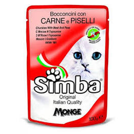 SIMBA CAT POUCHES MEAT & PEAS 100G